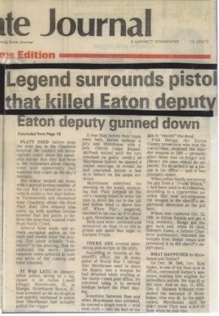 Legend surrounds pistol that killed Easton deputy, Eaton deputy gunned down article
