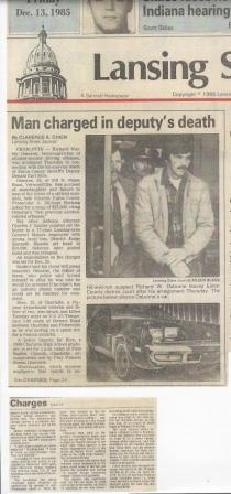 Man charged in deputy's death December 13, 1985