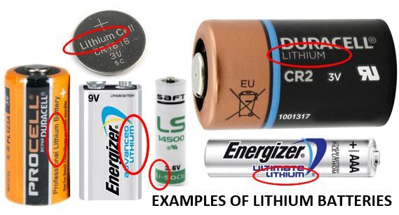 Examples of several differed brands of lithium batteries